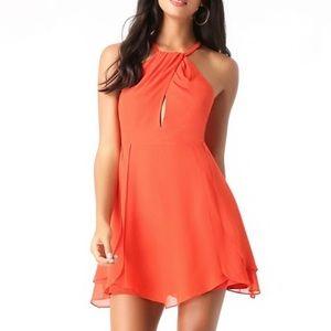 Bebe Tulip Skirt Keyhole Dress in Orange/Coral